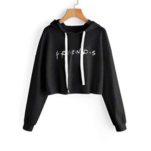 Friends Letters Printed Long-sleeved Short Harajuku Hoodie Women 2019 Autumn Cute Hoodie Crop Top 0915