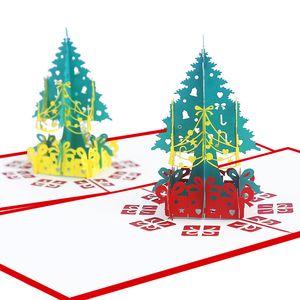 Noel 3D Pop Up Kağıt Kartları Yılbaşı Ağacı Dekorasyon Kartpostal Noel Hediye Kağıt Kart Tebrik Kartları Xmas Tebrik-w 00251