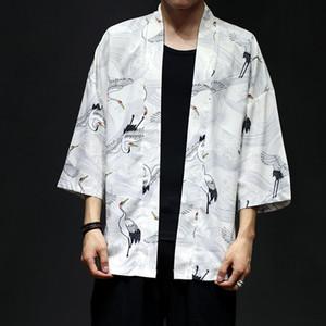 Verão Harajuku Jacket Men Figura impressão do quimono Shirts Mens Cloak Jacke Top Unisex Primavera fina Jacket Cardigan