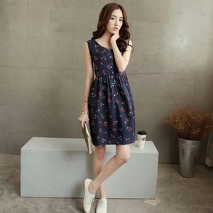 Korean Casual Maternity Dress Clothing Blue White Cherry Dresses For Pregnant Women Pregnancy Wear Loose Clothes Mothers Dress