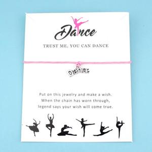 Dance Key Eiffel Tower Love Charm Card Bracelets Pink Women Men Girl Boy Unisex Fashion Handmade Jewelry Gift Many Styles Choose