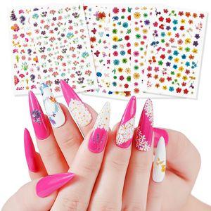 3d Flowers Sliders Nail Stickers Adesivi colorati Adesivi rosa rossa Adesivi Manicure Decalcomanie Chiodi Pellicole Decorazioni del tatuaggio NEW001
