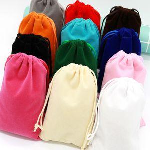 Velvet Bag Storage Bags Charms Earrings Jewelry Packaging Bags Wedding Decoration Velvet Pouch Gift Bag 9x12cm