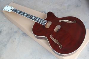 électrique rouge foncé usine kits de guitare semi-finis, guitare bricolage, semi-creux, Corps en érable et du cou, peuvent-ils être modifiés