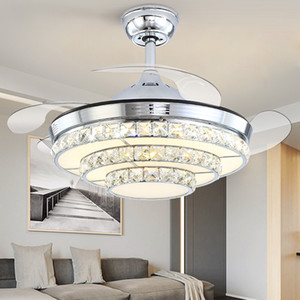 Silver Luxury Invisible Ceiling Fan Lamp Inverter Simple Modern Household Living Dining Room Crystal Led Ceiling Lights Fan