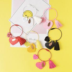 New cute double heart keychain ladies bag love tassel key chain pendant car alloy keychain jewelry accessories