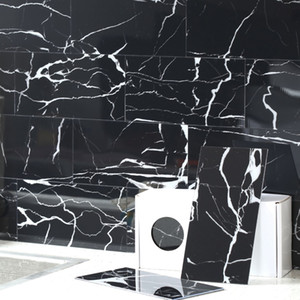 BeNice Marbling Backsplash Tile Subway Peel and Stick Wall Tile Kitchen Bathroom for Home DIY Decoration 100x200mmx23Tiles (Black)