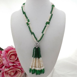 Charming 2strands green stone white freshwater pearl necklace micro inlay zircon accessories stone tassel pendant long 53 cm