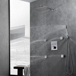욕실 비 공기 압력 샤워 시스템 3 개 기능 설정 초박막 샤워 헤드 욕조 수도꼭지 믹서 온도 조절기를 눌러 크롬 벽 마운트 샤워