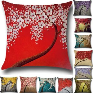 Tree Of Life Flower Pillow Case Cushion Cover Linen Cotton Throw 3D Sofa Bed Pillow Covers Christams Home Decorative WX9-751