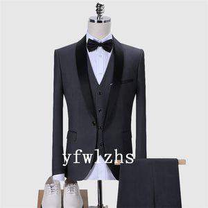Classic One Button Handsome Groomsmen Shawl Lapel Groom Tuxedos Men Suits Wedding Prom Best Man Blazer ( Jacket+Pants+Vest+Tie) W510