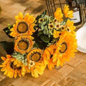 Big Head Retro Ayçiçeği Simülasyon Çiçek Buket Çiçek Bahçe Ev Dekorasyonu İpek Kumaş Sahte Çiçek Salon Masa Dekor