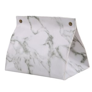 PU Leather Marble Pattern Tissue Box Paper Rack Office Table Accessories Facial Case Holder Napkin Tray For Home Hotel Car
