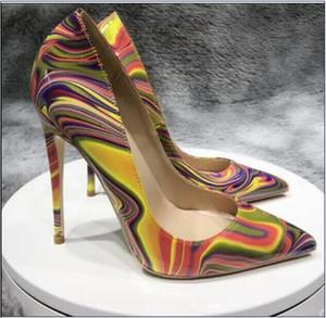 más el tamaño de las mujeres del diseñador Euro45 logotipo de los zapatos de tacón rojo inferior 8 cm 10 cm 12 cm desnuda remaches de color rosa negro rojo dedos apuntando únicos Bombas de zapatos de vestir