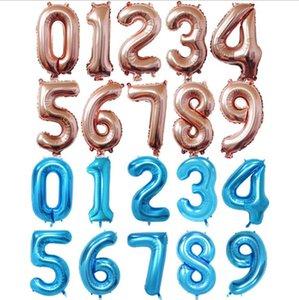 40/32/16 Zoll Happy Birthday Words Feiern Ballondekoration Aluminium Beschichtung Ballon Nummer 0 bis 9 Ballon Silber und goldene Farbe
