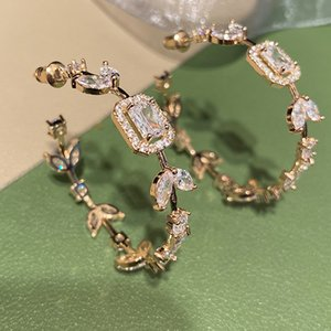 Queen Lotus New Fashion Big Star Earrings for Women Zircon Pandent Jewelry Korean Dangle Earrings For Party