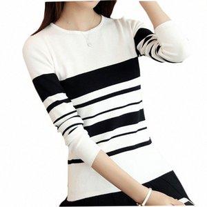 Kumeiya Frauen Pullover Pullover 2019 Herbst-Winter-gestreifte Thin gestrickten Pullover Weibliche Mode Wilde Strick Schwarz Weiß CLT3 #