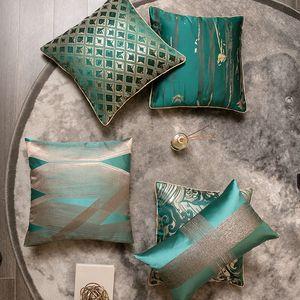 Green High Quality Satin Jacquard Waist Cushion Cover 45cm 30x50 Throw Hold PillowCase Home Decor for Sofa Bed Chair Living Room