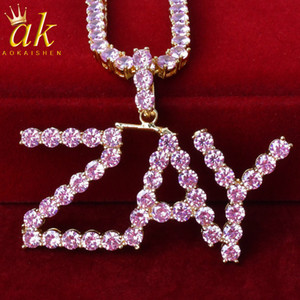 Custom Name Pink Color Tennis Letters Necklaces For Women Charms Zircon Hip Hop Jewelry Gold Color With 4MM Tennis Chain