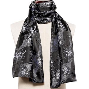 New Men Scarf Black Long Jacquard Paisley 100% Silk Scarf Autumn Winter Casual Retro Business Suit Shirt Shawl Barry.Wang