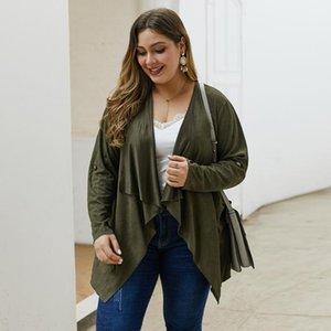 moda para mujer otoño solapa color sólido de manga larga chaqueta de la chaqueta irregular esmerilado de gran tamaño 1XL-4XL ropa ocasional simple