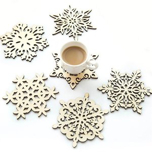 Wooden Snowflake Mug Coasters Holder Chic Drinks Coffee Tea Cup Mat Christmas Table Decoration Coaster Creative Hollow Cup Pads BH3522 DBC