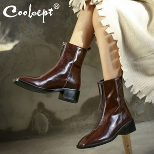 Coolcept New Women Mid Calf Boots Real Leather Square Toe Women Winter Autumn Short Boots Fashion Cool Ladies Footwear Size 39