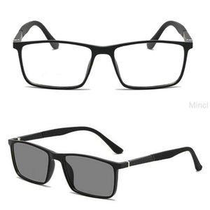 Sun Photochromic Square Reading Glasses for Men Brand Designer TR90 Ultralight retro diopter farsighted reading glasses FML