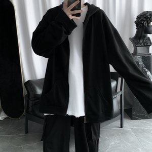 2020 Spring and Autumn Black Loose All-Matching Cardigan Sweater Mens Hooded Korean Style Couple Tee Hoodie Jacket