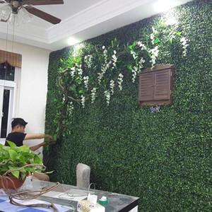 200PCS por lote césped artificial de alfombras de plástico de simulación de boj Hierba Mat 25cm * 25cm verde césped Para el hogar decoración de jardín