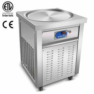 Etlce Commerciale 55cm Pan Gelato Roll Roll Machine Fry Ice Cream Machine Fried Ice Cream Machine con full refrigerante