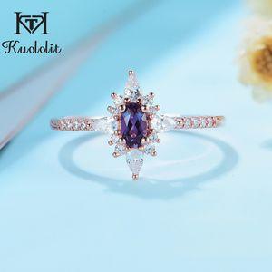 Kuololit Естественный Gemstone Женщины Real 925 стерлингового серебра лаборатории выросли Александрит овальное кольцо для свадьбы C0924