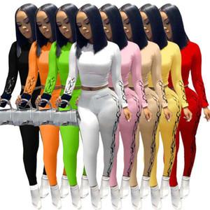 여성 운동복 디자이너 2 두 조각 복장 바지 세트 패션 인쇄 T 셔츠 바지 섹시한 레깅스 캐주얼 조깅 의류 플러스 사이즈