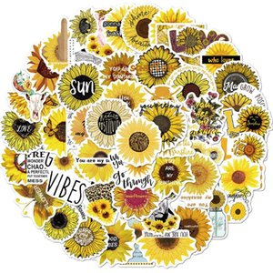 Low Price Promotion 50 Non-repetitive INS Sunflower Daisy Stickers For Car Laptop Skateboard Luggage Stickers Car Kids DIY Cartoon Stickers
