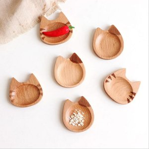 Cat Japanese Style Dish Beech Cartoon Sauce Dish Creative Small Wooden Dish Household Commodity Household daily necessities