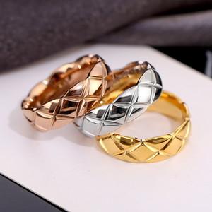 Nueva Personalidad Luz de lujo de acero de titanio anillo de par Plaza Los hombres y las mujeres anillo de la joyería del regalo del día de San Valentín de envío gratuito