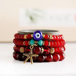 Bohemian Starfish Charm Multi Layered Bracelets Set For Women Summer Vintage Stone Beads Bracelets Jewelry Pulseira Gift