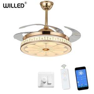 Tavan fanı + lamp Uzaktan duvar Kontrolü bluetooth frekans dönüştürme Görünmez Yapraklar ev dekorasyon Ayarlanabilir karartma Işıklar