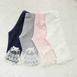 2020 Summer Girls Calf-length Leggings Baby Girl Mesh Spliced Pants Bow Lace Candy Color skinny Leggings Kids Pants