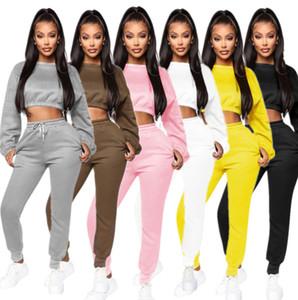 Conjuntos femininos Dois Set Pieces Designer lanterna Long Sleeve T Shirt Body Treino Sportsuit calças compridas Esporte Suit cor sólida