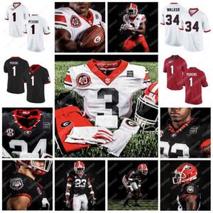 1 George Pickens 2020 Georgia Bulldogs 40e D'Wan Mathis James Cook Herschel Walker Gurley II Washington Football américain universitaire Jersey