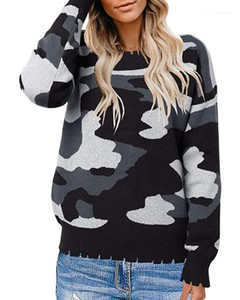 Pullover Moda Vestuário Feminino 2020 Designer New Womens Sweater Outono Inverno manga comprida Camouflage Painéis Knit