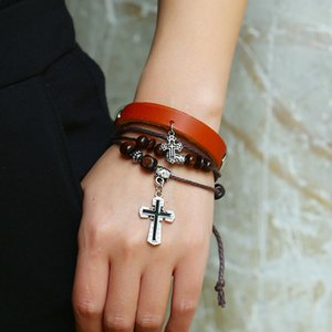 New Men's and Women's Cross Beaded Leather Bracelet Creative Retro Wooden Beads Multi-layer Bracelet Personality Neutral Jewelry