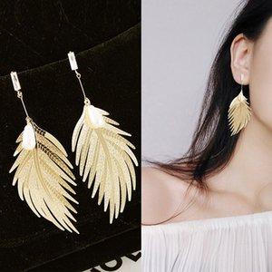 2020 Нового Brinco Earings Женских серег Металл перо Подвеска Корея Длинной кисточка дама Банкет Свадебная Мода ювелирных подарки