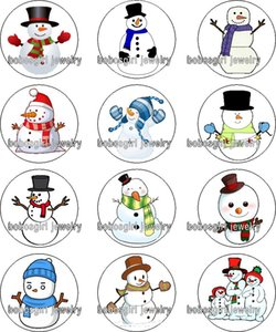 Free shipping christmas snowman glass Snap button Charm Popper for Snap Jewelry good quality 12pcs   lot Gl364 jewelry making DIY
