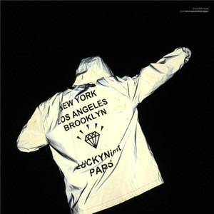 BROOKLYN Hooded Loose Casual Coats Windbreaker Jackets Men 3M Reflective Jacket Diamond Print Letters NEW YORK