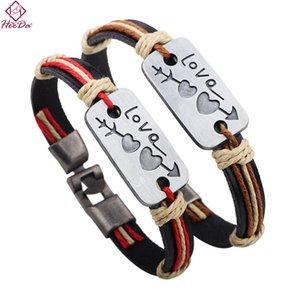 Heeda Kpop Vintage Corde en cuir Bangle Créer flèche Amoureux Coeur Bracelet Homme Femme Romantique Saint Valentin cadeau Bijoux Fashion