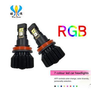 2pcs APP Bluetooth Control RGB Car LED Headlight Changeable Color Light H16 5202 H8 H11 9005 9006 Auto Head Lamp P13W led Bulbs