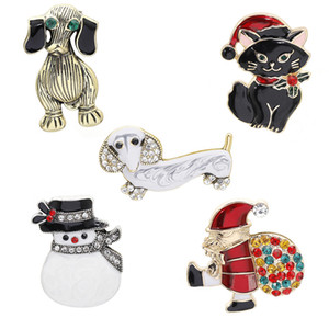 New European and American Christmas colored glaze pin fashion Santa Claus snowman sheep cat dog imitation animal brooch