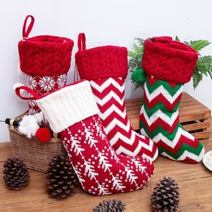 New Christmas decorations knitting Christmas socks woolen socks red and white elk gift bag children's gift bag T3I51149